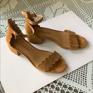 Lucky Brand Tan Suede Strappy Heeled Sandals